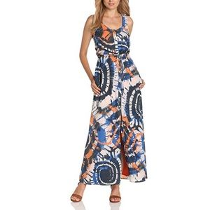 NWT Fully Lined Open Front Tie Dye Maxi Dress